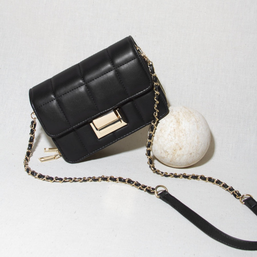 Melie Bianco Luxury Vegan Leather Julianna Small Crossbody Bag in Black