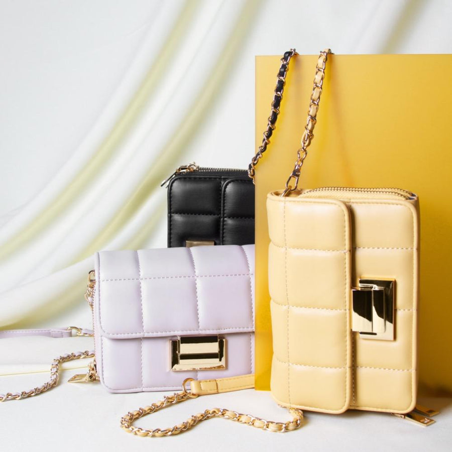 Melie Bianco Luxury Vegan Leather Julianna Small Crossbody Bag in Bone, Yellow, and Black