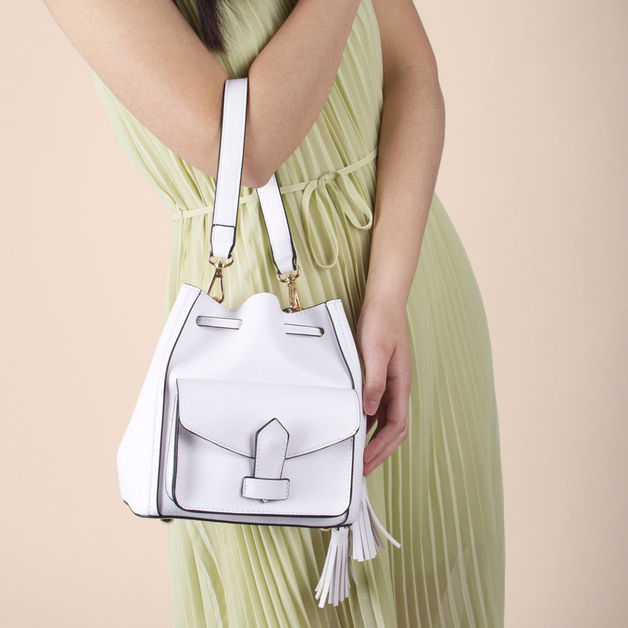Melie Bianco Karina Luxury Vegan Leather Top Handle Bag in White