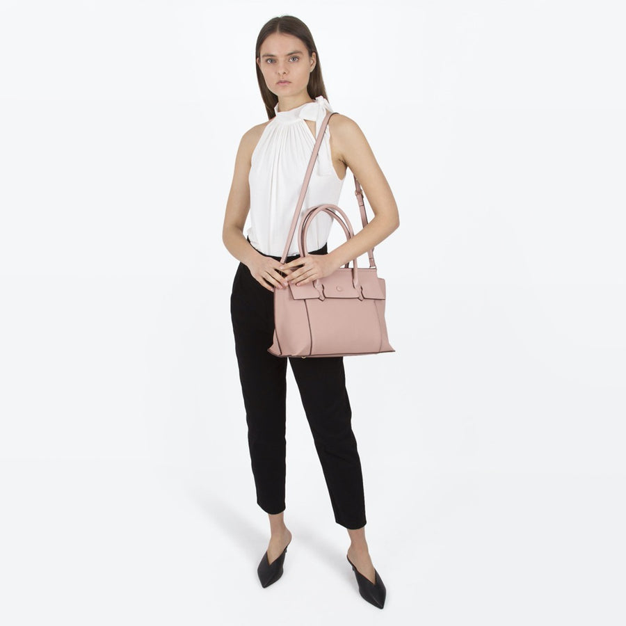 Melie Bianco Luxury Vegan Leather Naomi Shoulder Bag in Blush