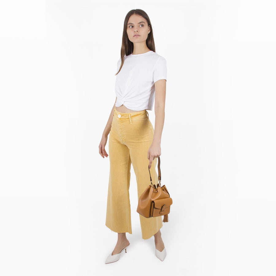 Melie Bianco Karina Luxury Vegan Leather Top Handle Bag in Tan