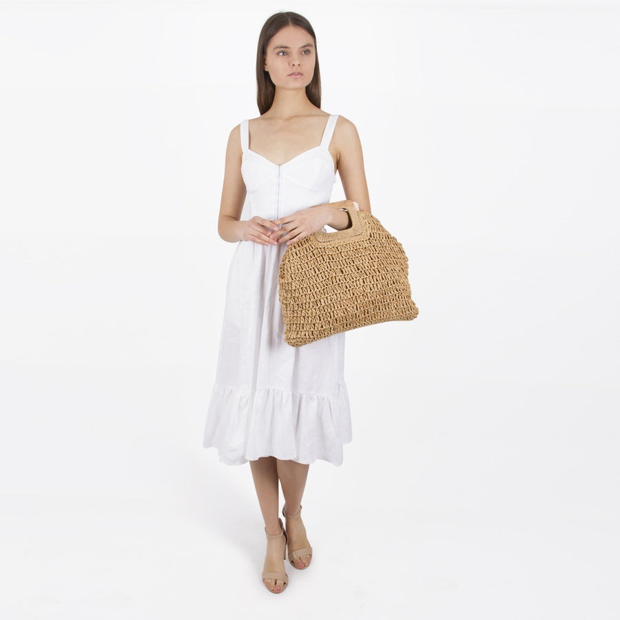 Melie Bianco Harley Eco Friendly Straw Tote Bag in Tan