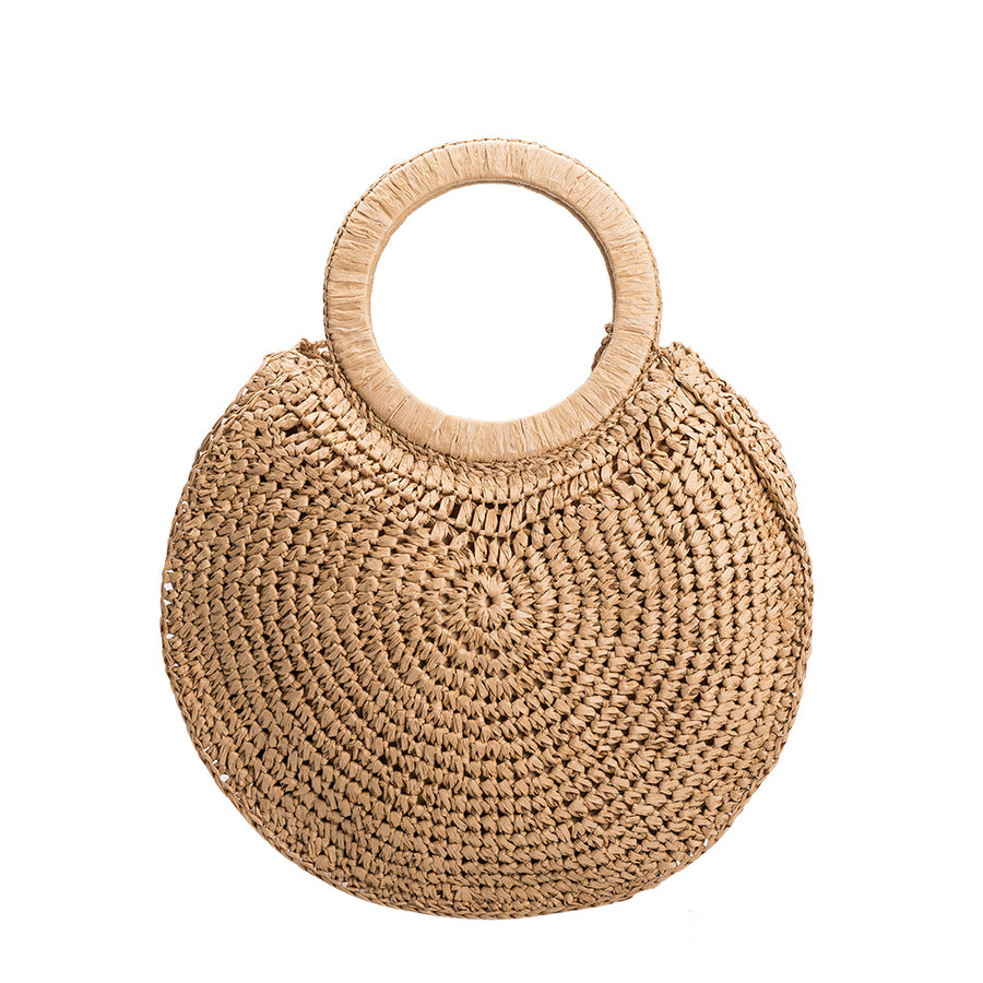 Melie Bianco Cannes Top Handle Eco Friendly Straw Bag in Tan