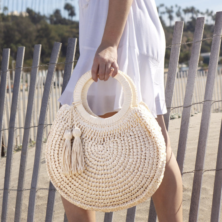 Melie Bianco Cannes Top Handle Eco Friendly Straw Bag in Natural