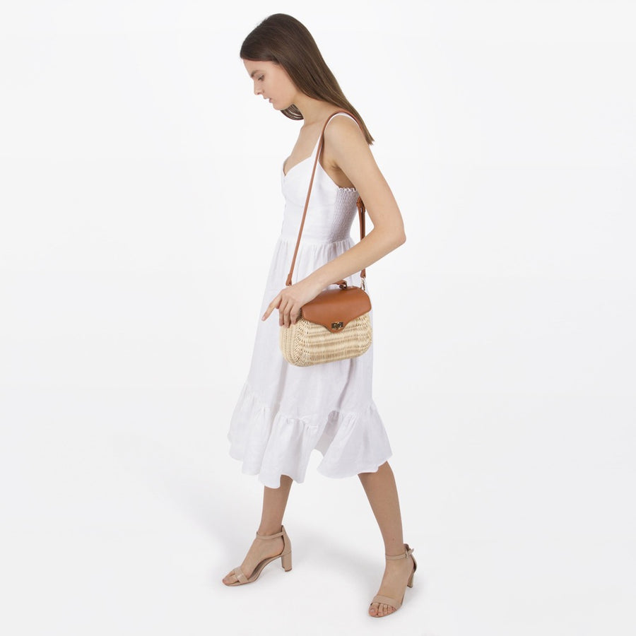 Melie Bianco Luxury Vegan Leather Cypress Saddle Top Handle Bag