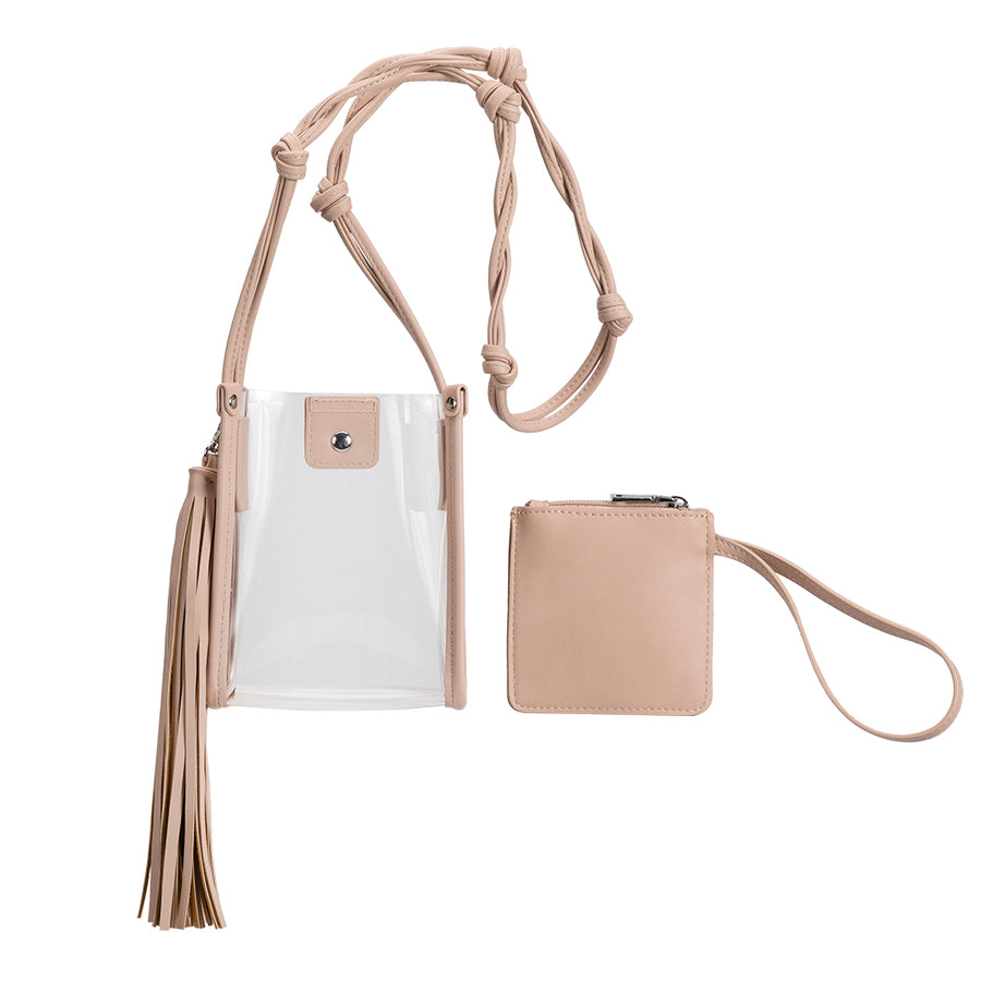 Melie Bianco Kristy Clear Luxury Vegan Leather Crossbody in Blush