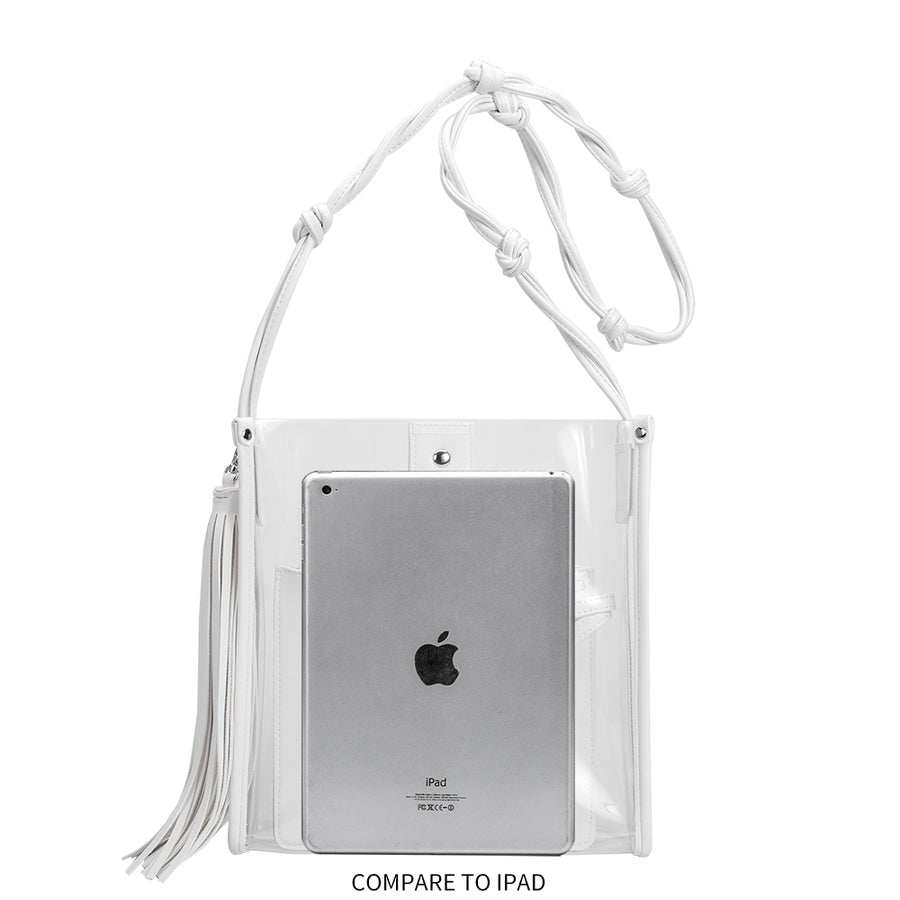 Melie Bianco Janice Large Clear White Luxury Vegan Leather Crossbody Bag