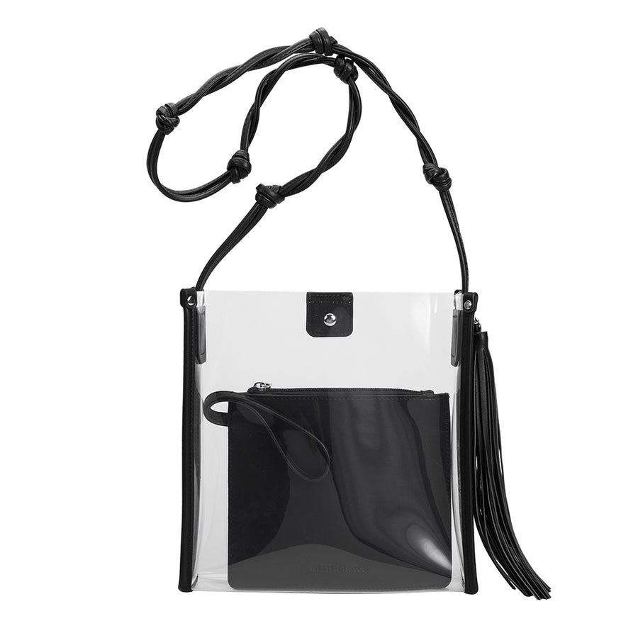 Melie Bianco Janice Large Clear Luxury Vegan Leather Crossbody Bag in Black