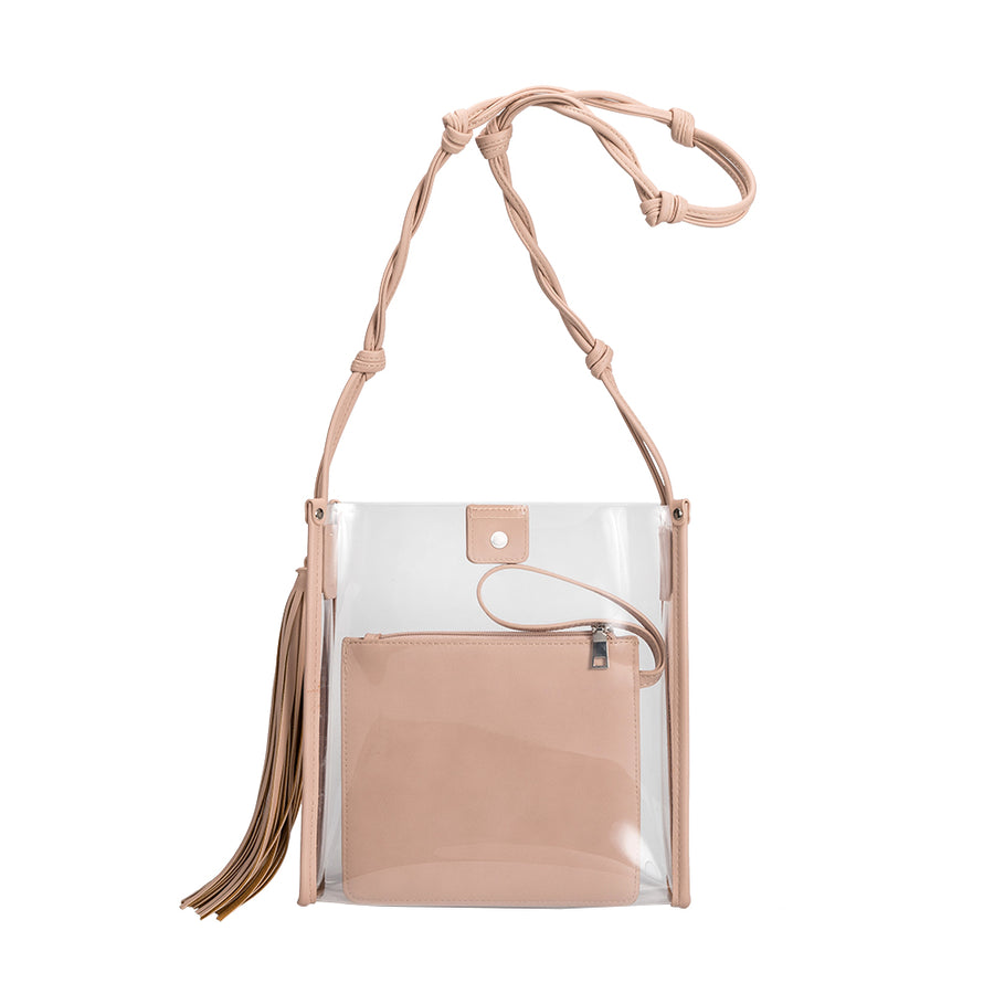 Melie Bianco Janice Large Clear Luxury Vegan Leather Crossbody Bag in Blush