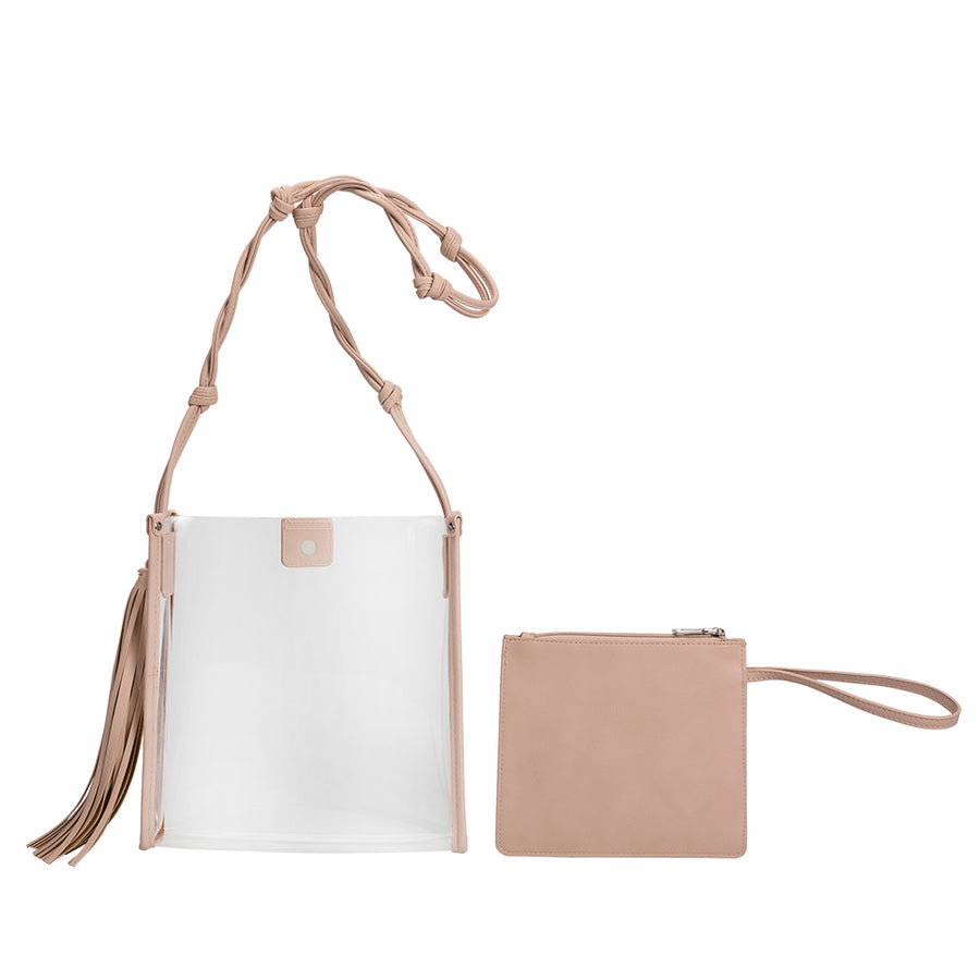 Melie Bianco Janice Large Clear Blush Luxury Vegan Leather Crossbody Bag