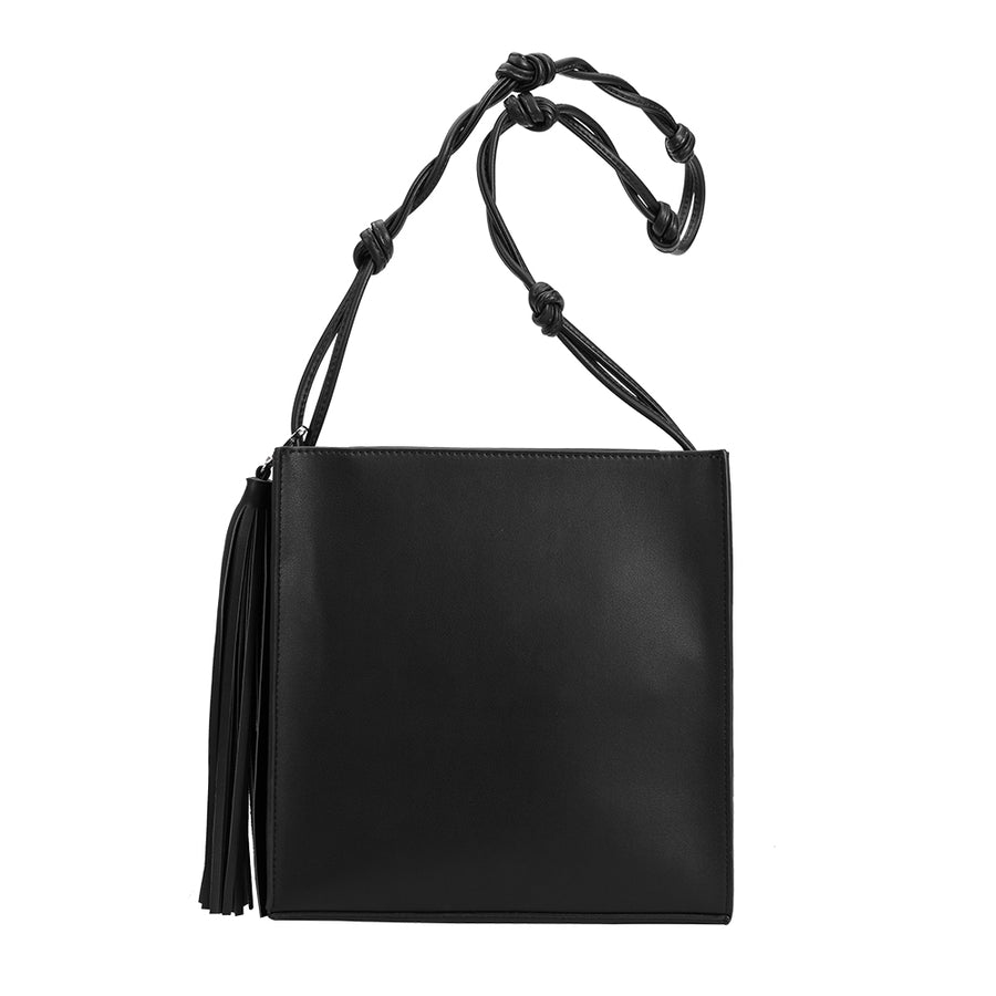elie Bianco Janice Large Luxury Vegan Leather Crossbody in Black
