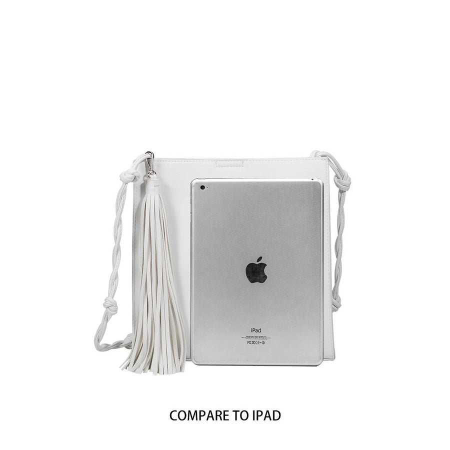 Melie Bianco Janice Large Luxury Vegan Leather Crossbody in White