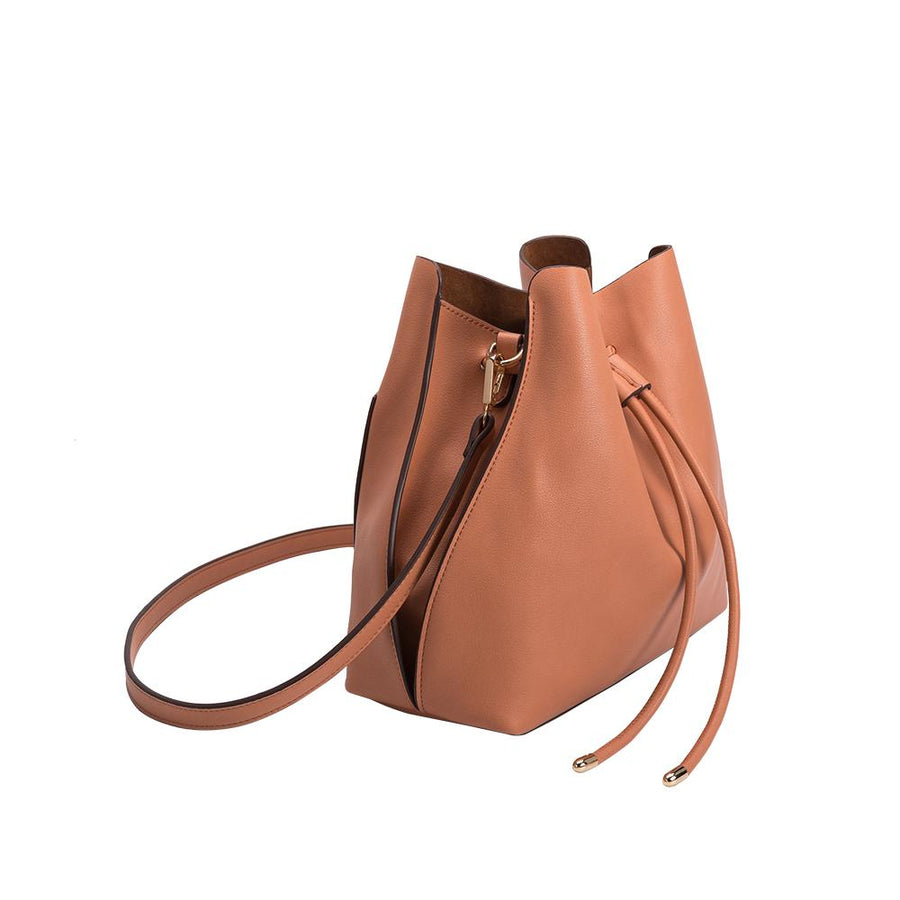 Melie Bianco Luxury Vegan Leather Leia Shoulder Bag in Peach