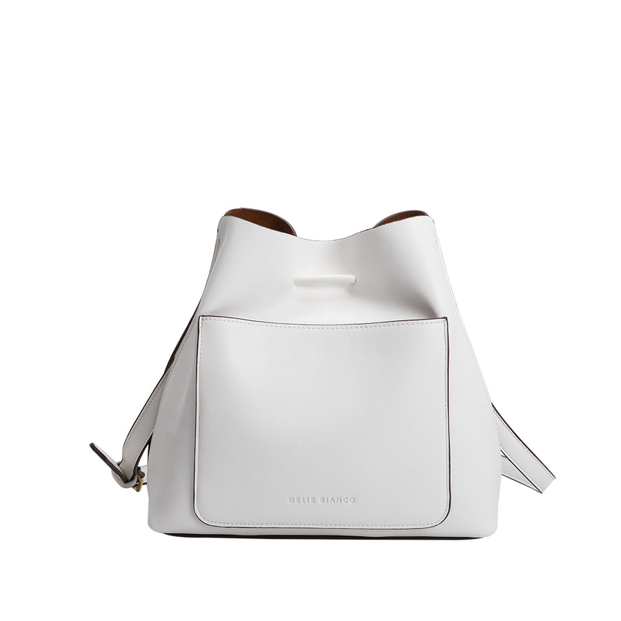 Melie Bianco Luxury Vegan Leather Leia Shoulder Bag in White