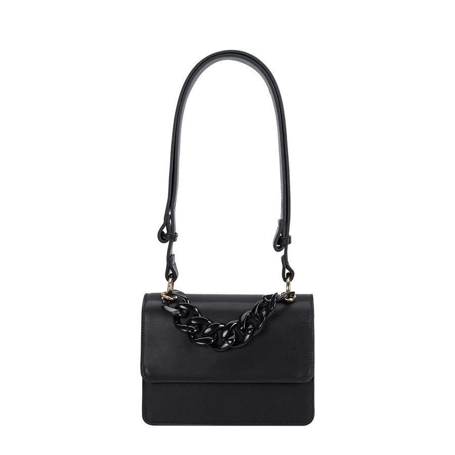Melie Bianco Luxury Vegan Leather Vicky Shoulder Bag in Black