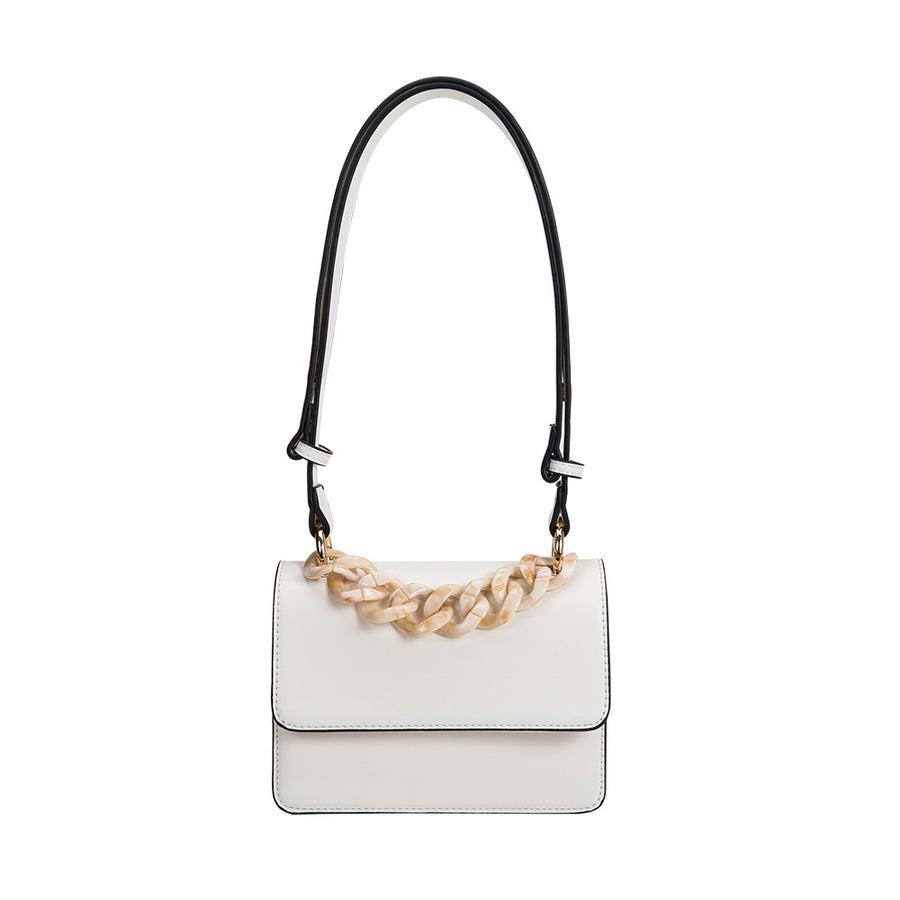 Melie Bianco Luxury Vegan Leather Vicky Shoulder Bag in Ivory