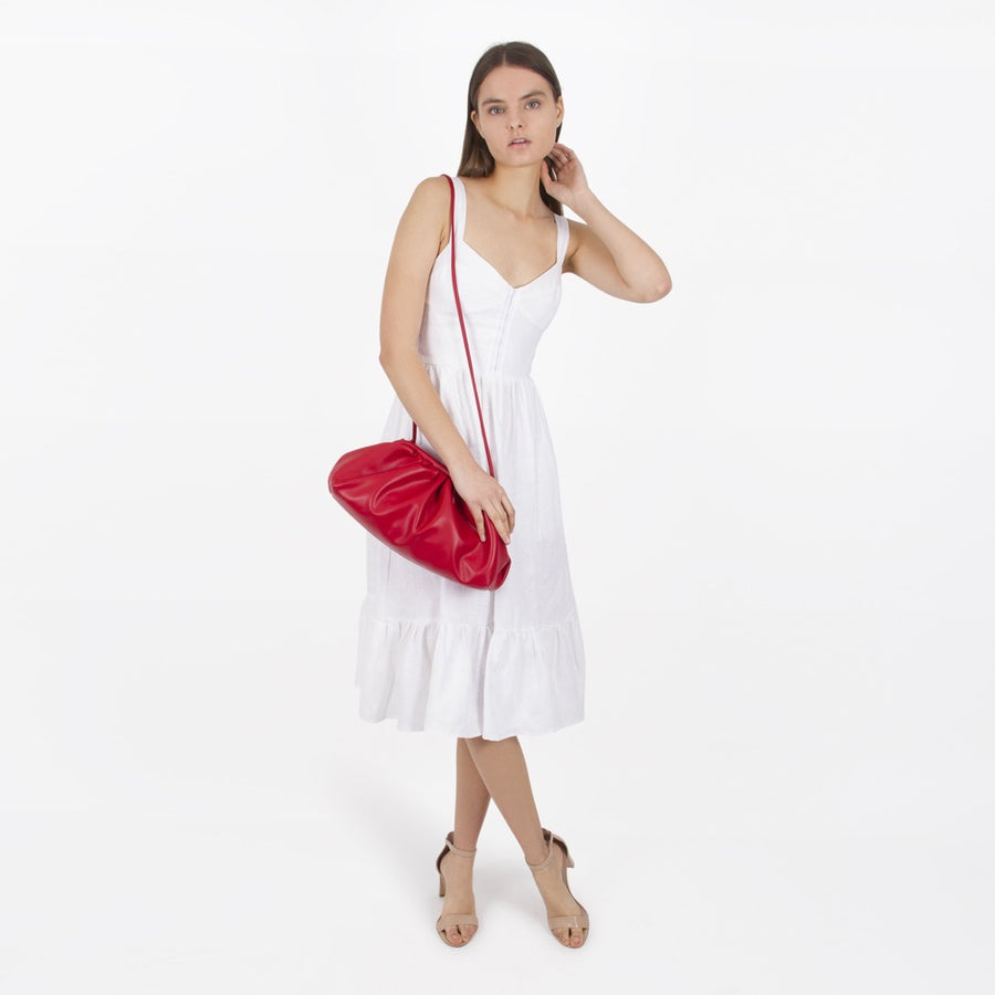 Melie Bianco Luxury Vegan Leather Brandy Crossbody Bag in Red
