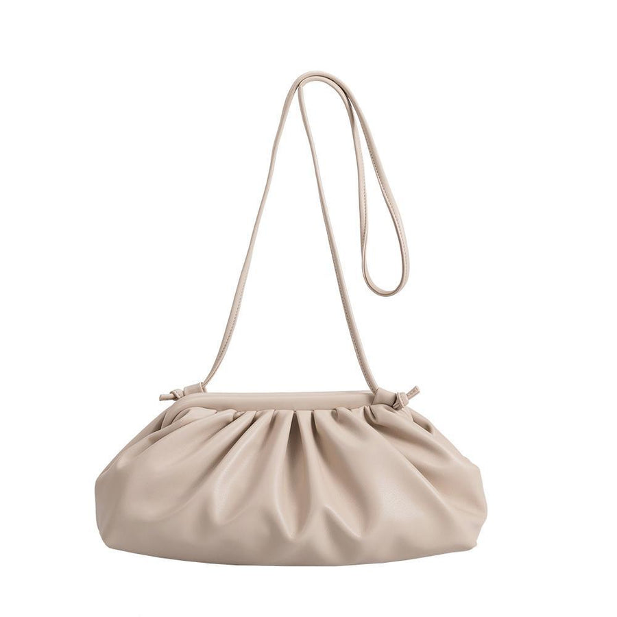 Melie Bianco Luxury Vegan Leather Brandy Crossbody Bag in Nude