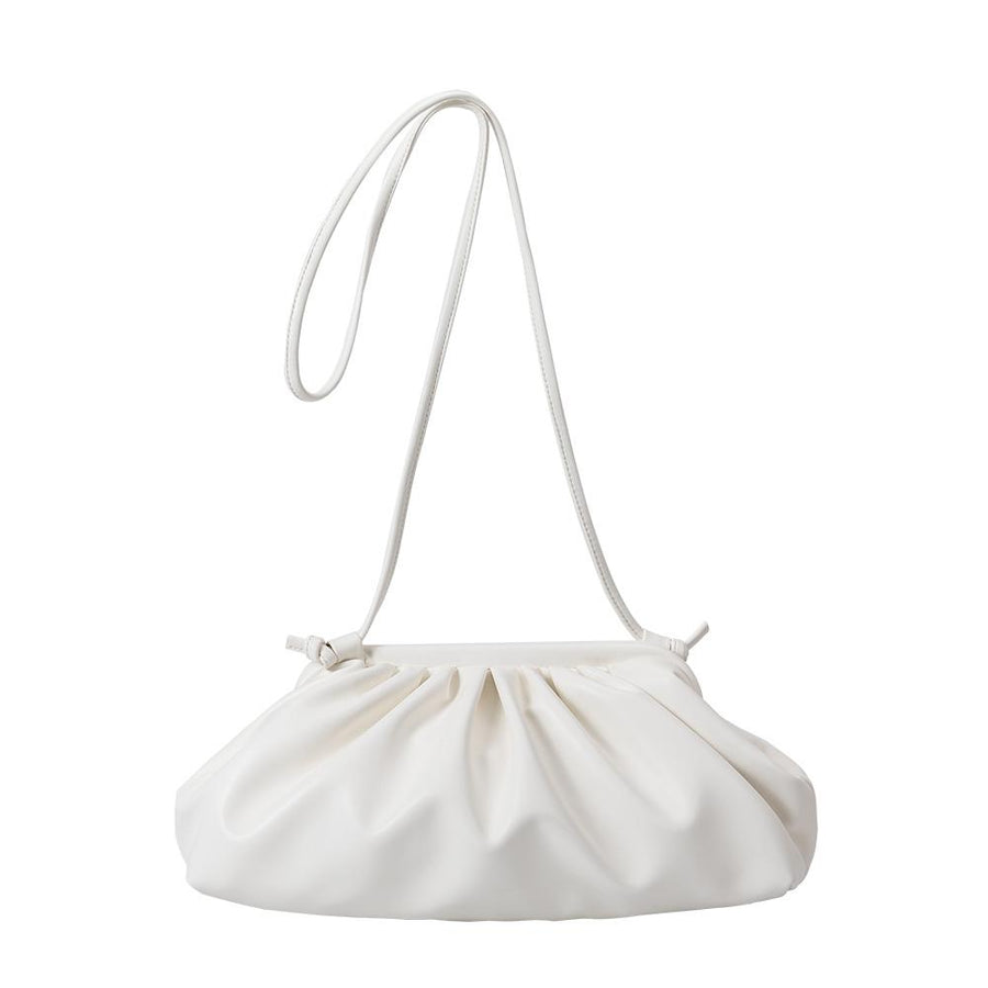 Melie Bianco Luxury Vegan Leather Brandy Crossbody Bag in White