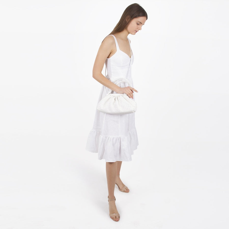 Melie Bianco Luxury Vegan Leather Ellise Top Handle Bag in White