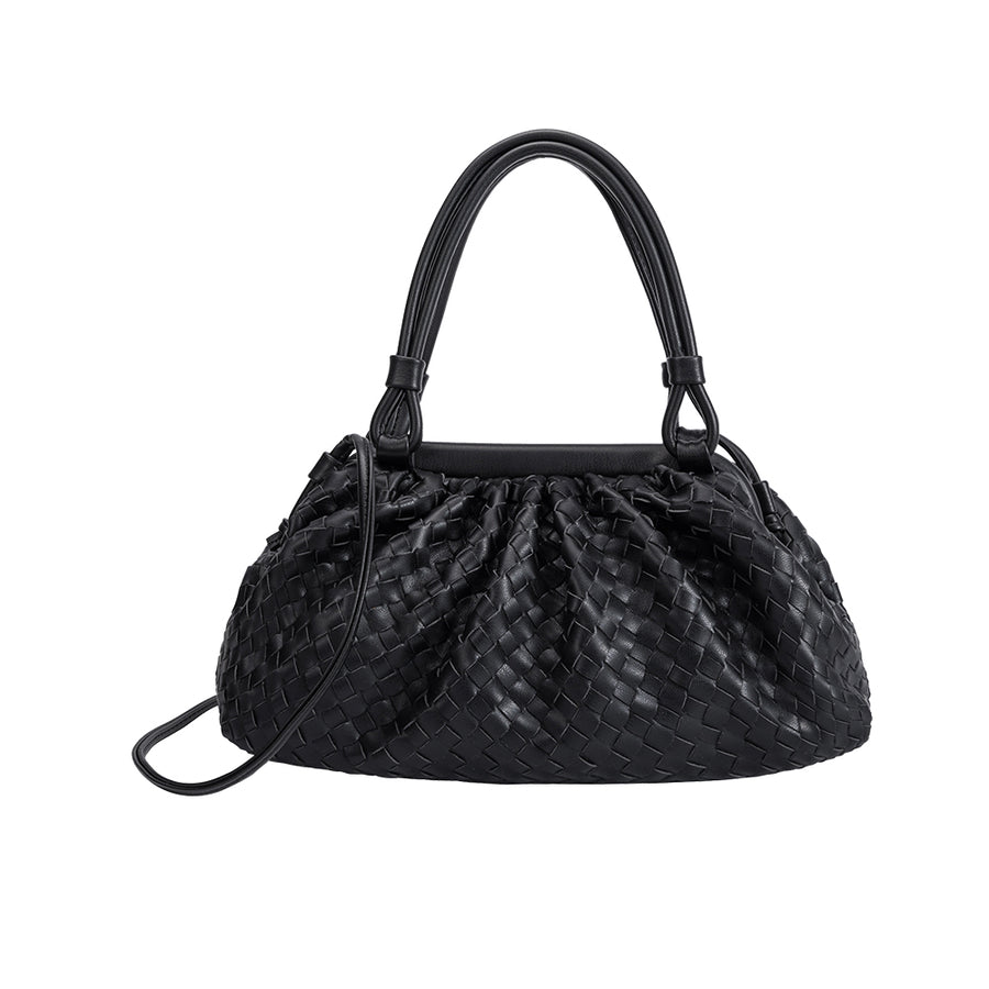 Melie Bianco Luxury Vegan Leather Ellise Top Handle Bag in Black