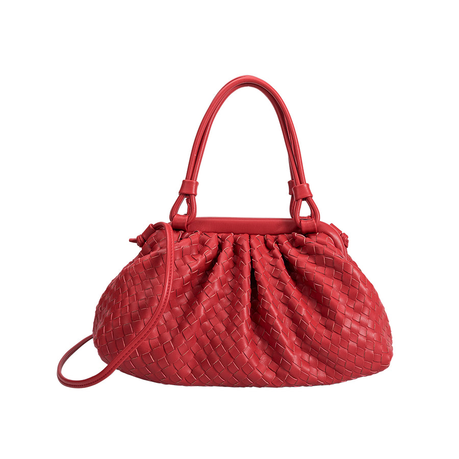 Melie Bianco Luxury Vegan Leather Ellise Top Handle Bag in Red