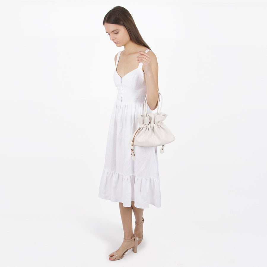 Melie Bianco Luxury Vegan Leather Mariel Top Handle Bag in White