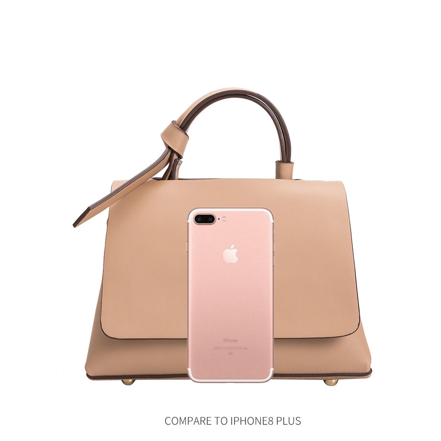 Melie Bianco Luxury Vegan Leather Camilla Crossbody Bag in Nude