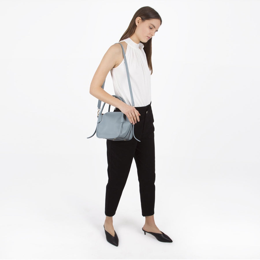 Melie Bianco Luxury Vegan Leather Carter Top Handle Bag in Blue