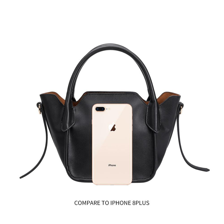 Melie Bianco Luxury Vegan Leather Carter Top Handle Bag in Black
