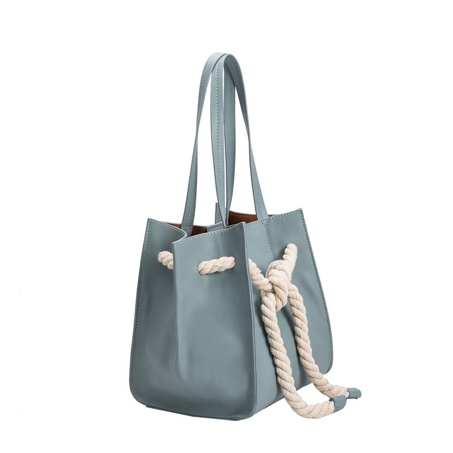 Melie Bianco Luxury Vegan Leather Monica Shoulder Bag in Blue
