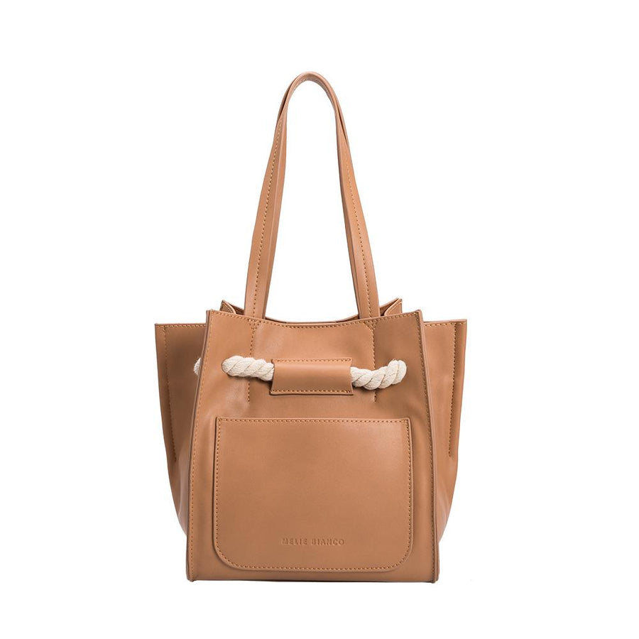 Melie Bianco Luxury Vegan Leather Monica Shoulder Bag in Tan