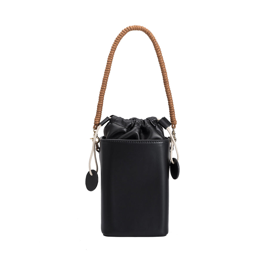 Melie Bianco Poppy Luxury Vegan Leather Crossbody in Black