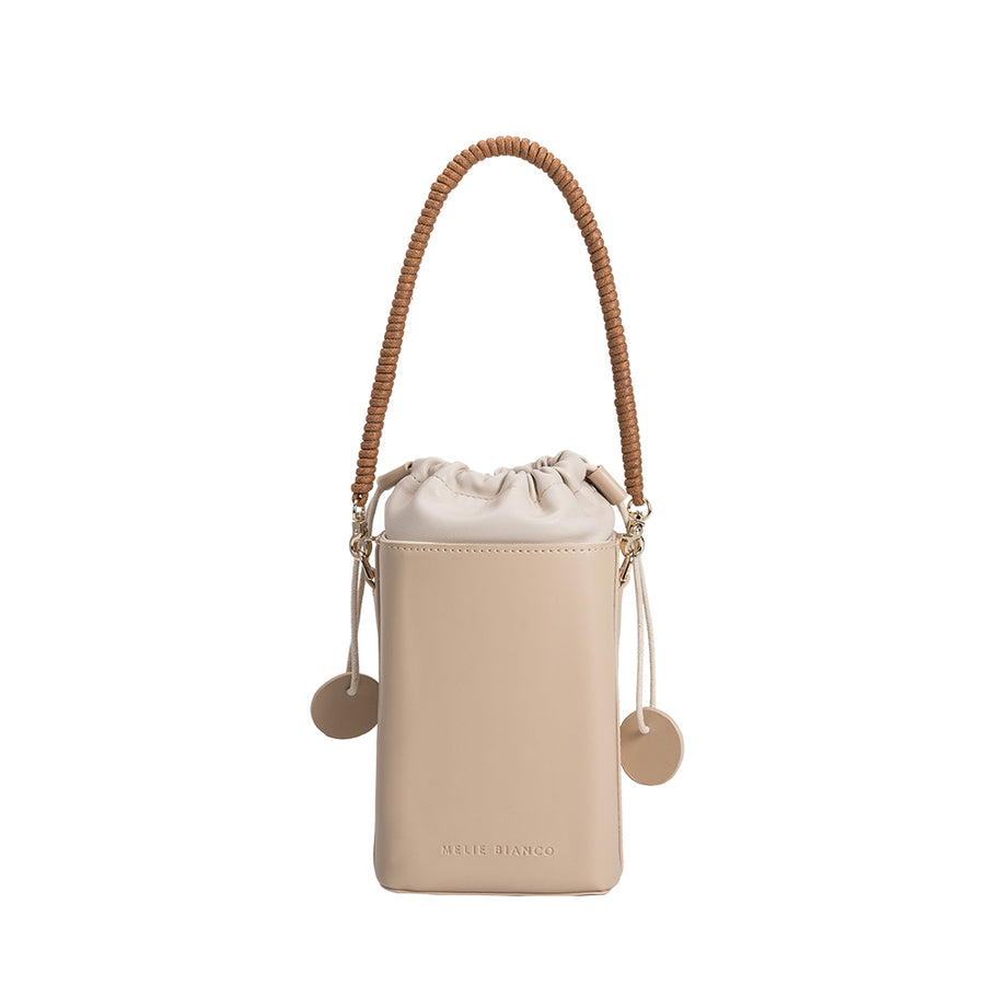 Melie Bianco Poppy Luxury Vegan Leather Crossbody in Nude