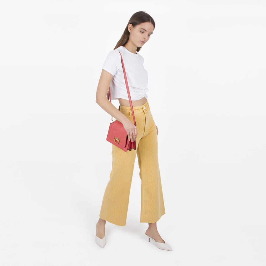 Melie Bianco Luxury Vegan Leather Robin Crossbody Bag in Coral