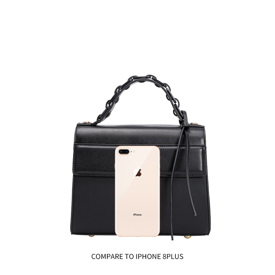 Melie Bianco Luxury Vegan Leather Sandra Crossbody Bag in Black