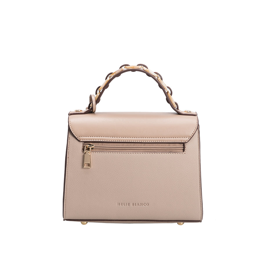 Melie Bianco Luxury Vegan Leather Sandra Crossbody Bag in Taupe