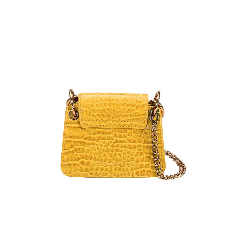 Melie Bianco Luxury Vegan Leather Bella Micro Crossbody Bag in Yellow
