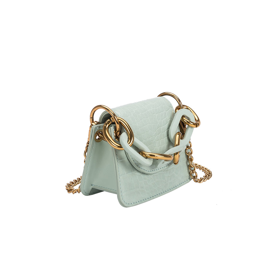 Melie Bianco Luxury Vegan Leather Bella Micro Crossbody Bag in Mint