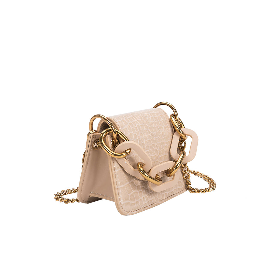 Melie Bianco Luxury Vegan Leather Bella Micro Crossbody Bag in Nude