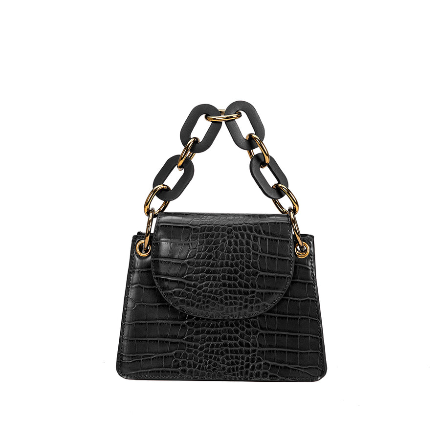 Melie Bianco Luxury Vegan Leather Loren Crossbody Bag in Black