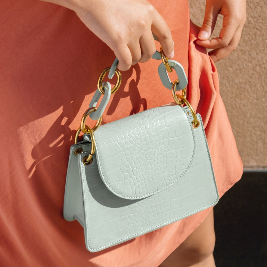 Melie Bianco Luxury Vegan Leather Loren Crossbody Bag in Mint