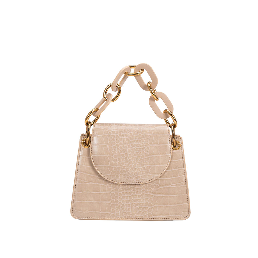 Melie Bianco Luxury Vegan Leather Loren Crossbody Bag in Nude