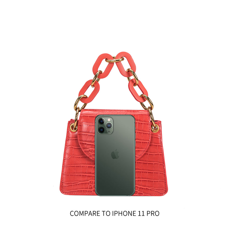 Melie Bianco Luxury Vegan Leather Loren Crossbody Bag in Red