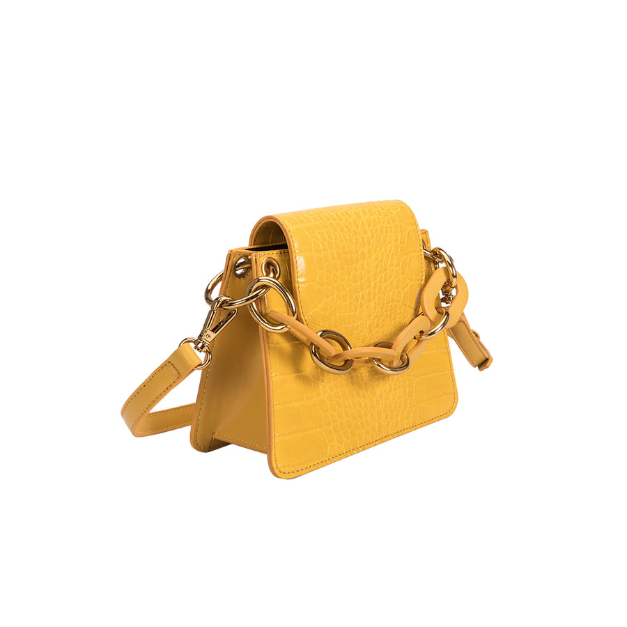 Melie Bianco Luxury Vegan Leather Loren Crossbody Bag in Yellow