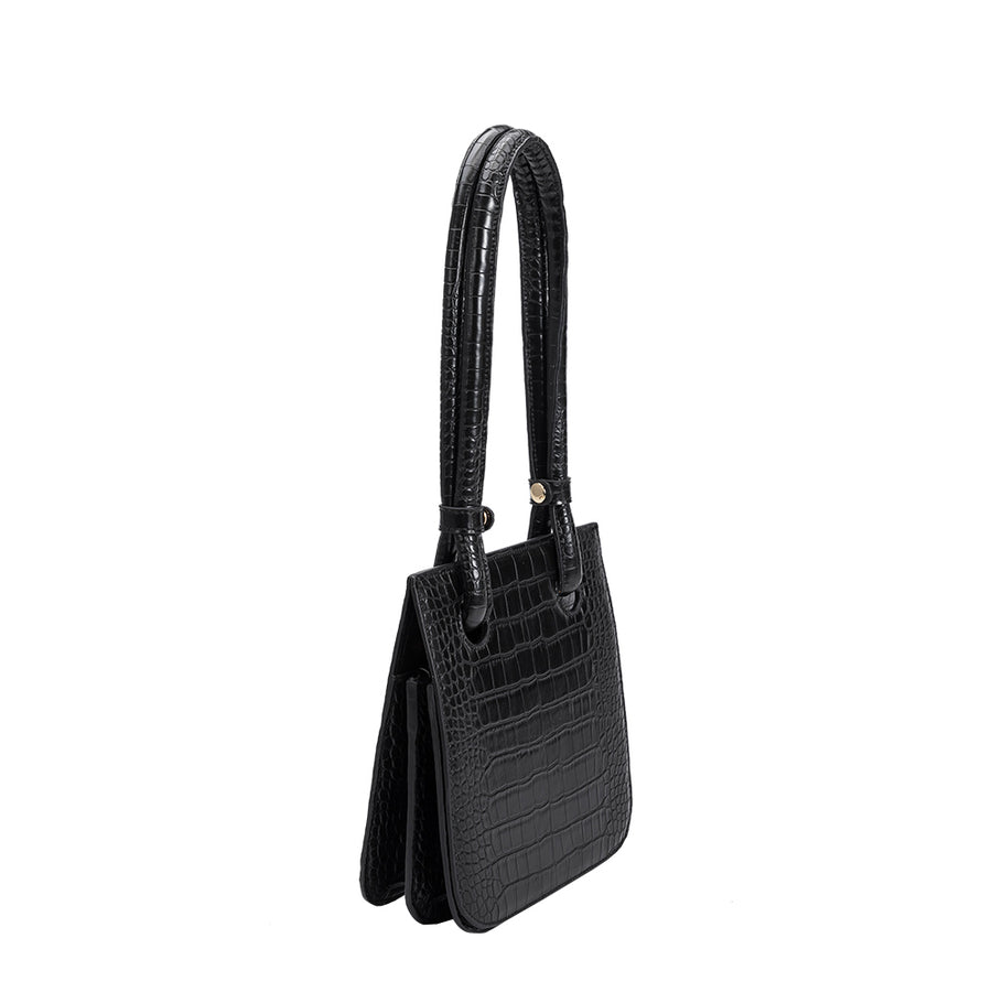 Melie Bianco Luxury Vegan Leather Taryn Shoulder Bag in Black
