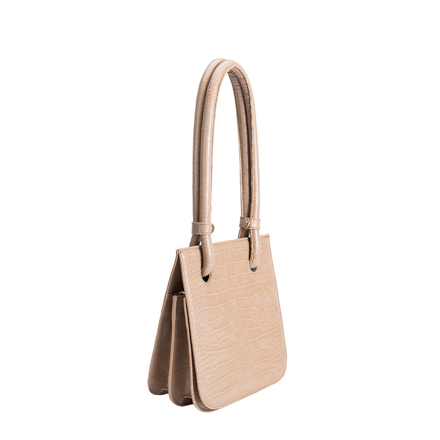 Melie Bianco Luxury Vegan Leather Taryn Shoulder Bag in Nude
