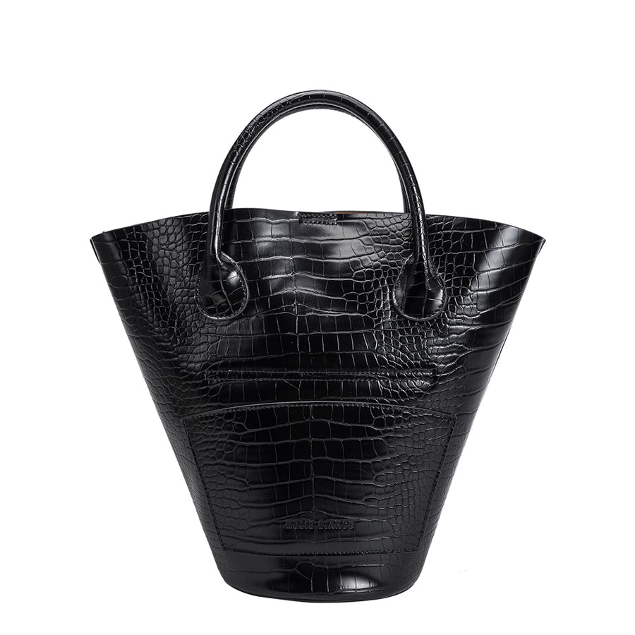 Melie Bianco Luxury Vegan Leather Nicole Bucket Tote Bag in Black