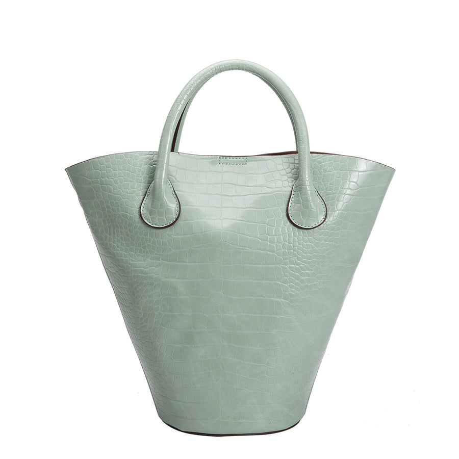 Melie Bianco Luxury Vegan Leather Nicole Bucket Tote Bag in Mint