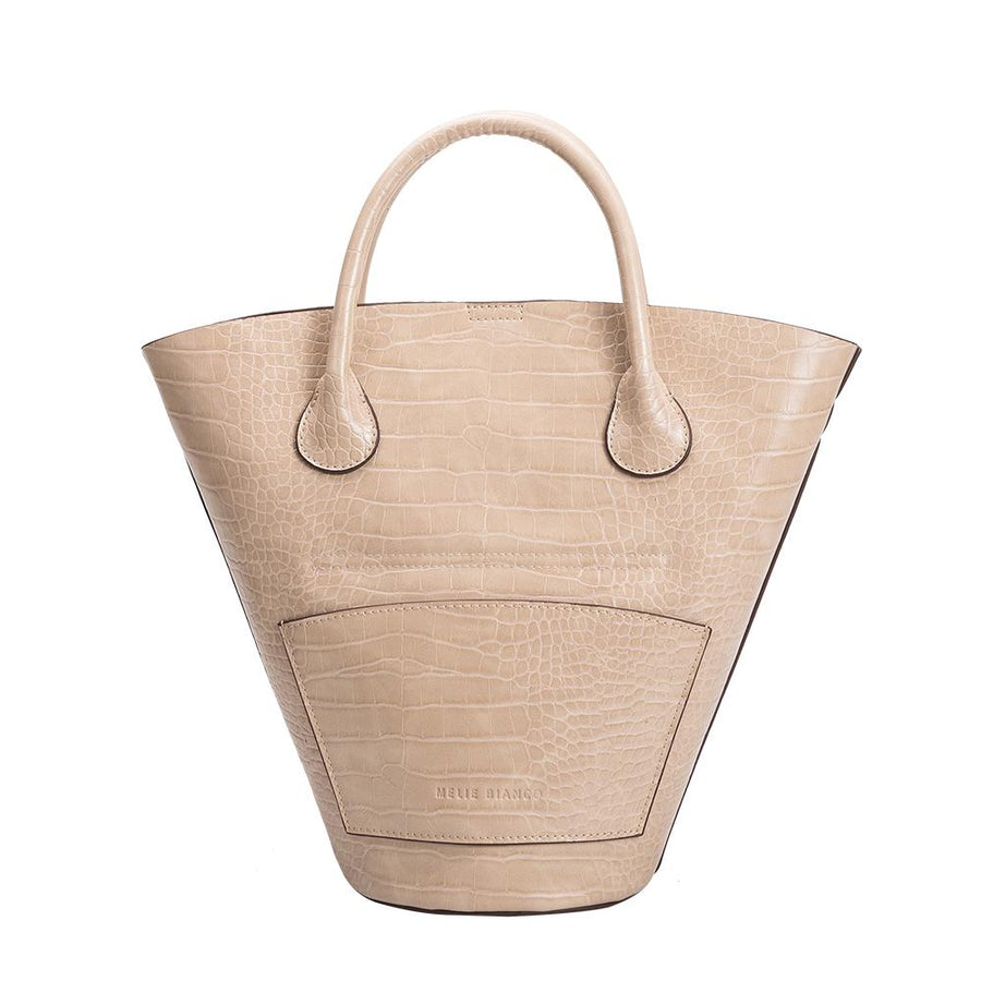 Melie Bianco Luxury Vegan Leather Nicole Bucket Tote Bag in Nude